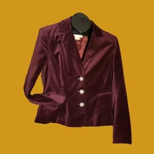 Micheal Kors Maroon Velvet Blazer Jeweled Buttons